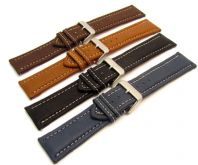 Padded Leather Watch Strap Contrast Stitched 20mm-26mm C011